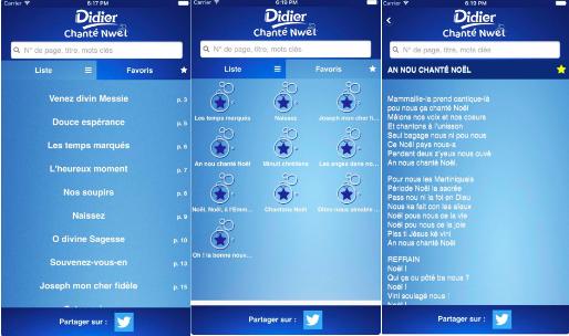 Écrans de l'application promotionnelle Diidier Chanté Nwel